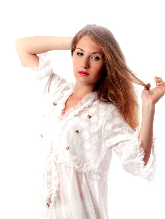SHIP NOW, Lace Dressing Gown, White Lace Dressing
