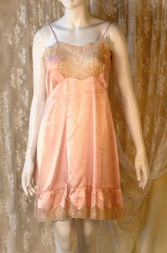 Vintage Lingerie, 1940s Lingerie, Peach Slip Dress