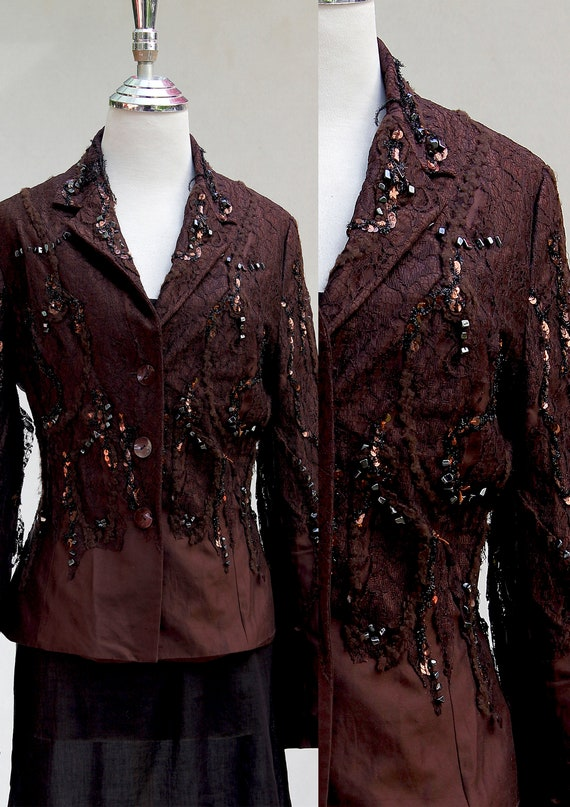 Brown Women Jacket, Dressy Jacket, Retro Top, Ladi