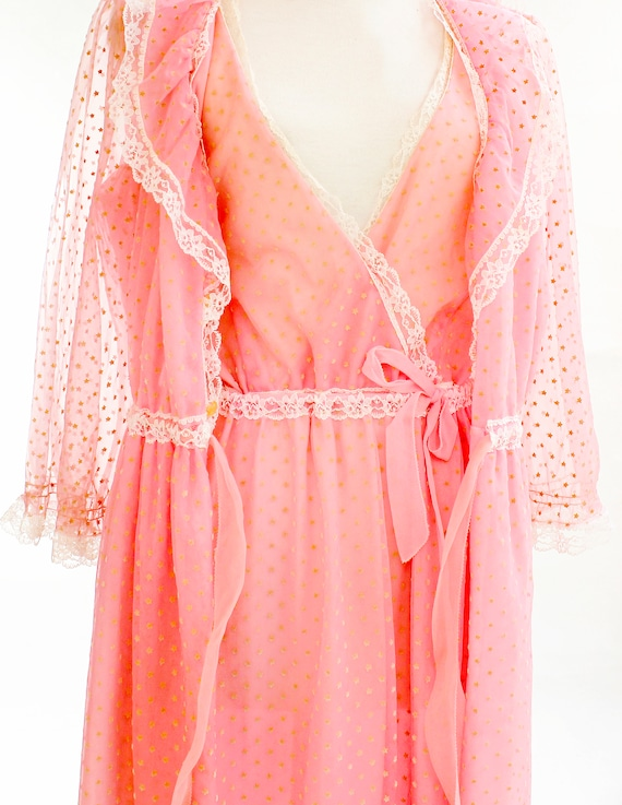 Vintage Nightgown and Robe Lingerie Set Vintage Lace  2f1f1c9c7