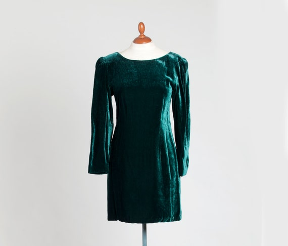 Retro 70s Dress , Beautiful Emerald Velvet Dress ,