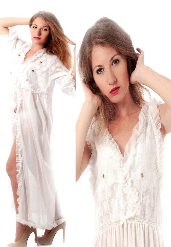 nuovo di zecca f8157 f39e3 Camicia da notte e vestaglia, camicia da notte dell'annata, Robe Set,  camicia da notte Top, 80s impostare bianco, Peignoir Set, Robe camicia da  notte ...
