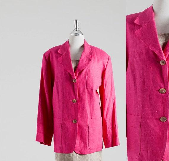 Pink Color Blazer, Linen Blazer, Tailored Jacket,