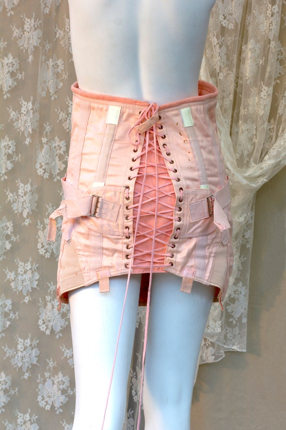 Vintage French Style Boned Laced Corset, Burlesque