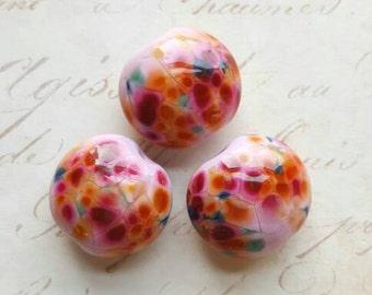 Vintaj Designer Series {Happy Bouquet Handmade Lampwork Glass Lentil Beads 20mm} 3 Pcs - Artisan Made by Farm Girl Studio