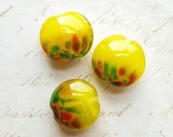 Vintaj Designer Series {Sunflower Fields Handmade Lampwork Glass Lentil Beads 20mm} 3 Pcs - Artisan Made by Farm Girl Studio