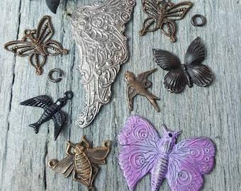 Vintaj Mixed Metals {Whimsical Wings} Sampler Pack - Charms, Pendants, Connectors, Decorivet Mixed Lot - 14 Pcs