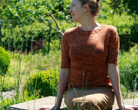 Cable and Button Sweater: Knitting Pattern / Dk Weight Keyhole Sweater Knitting Pattern
