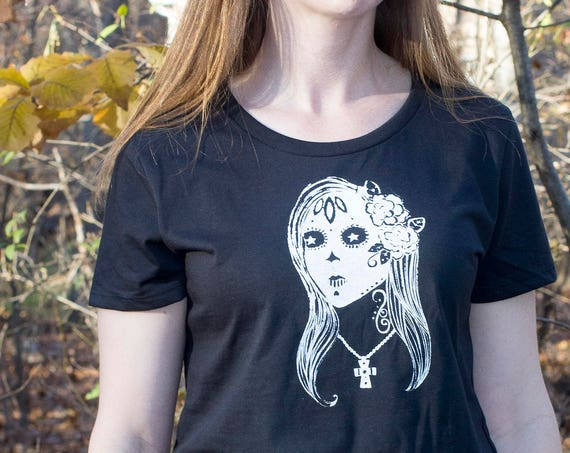 Organic Cotton Screen Printed T Shirt / Sugar Skull Tee / Sugar Skull Drawing Printed T Shirt / Ready to Ship