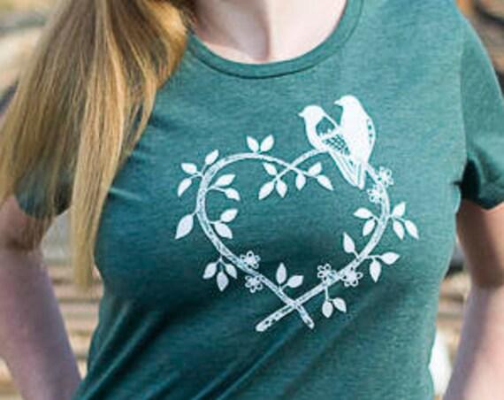 Organic Cotton Screen Printed T Shirt / Americana Birds Tee / Birds Drawing Printed T Shirt / Ready to Ship