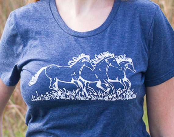 Organic Screen Printed T Shirt / Free Spirit Tee / Horse Drawing Printed T Shirt / Ready to Ship
