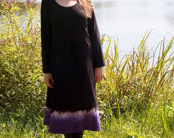 Eclipse Dress, American Grown Organic Cotton Black Dress, Discharge and Dip Dyed Eco Friendly Dress