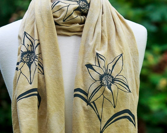 Lily Scarf, Hand Printed Scarf, Screen Printed Scarves, Organic Women's Scarf