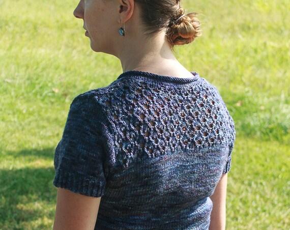 Sylvia Knitting Pattern / DK Weight Lace Sweater Pattern