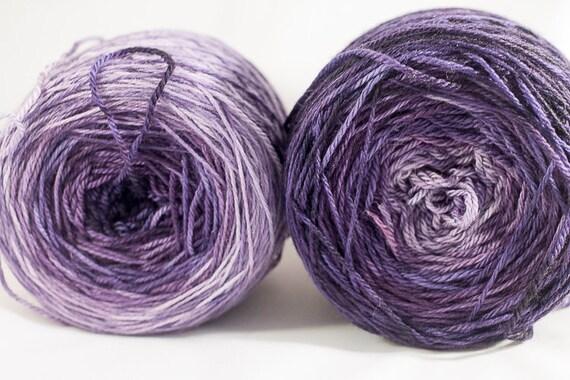Hand Dyed Superwash Merino Light Fingering Weight Yarn, Gradient Yarn, Purple Gradient Yarn, Shawl Knitting Yarn