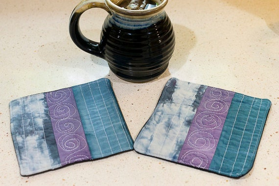 Quilted Mug Rugs, Shibori Coasters, Hand Dyed Hand Made Free Motion Quilted Coasters