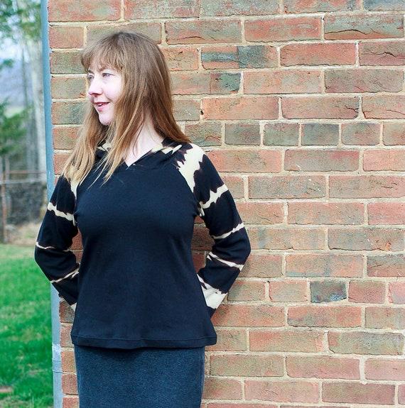 Shibori Hoodie, Organic Cotton Interlock Women's Raglan Top, Shibori Striped Eco Friendly Shirt