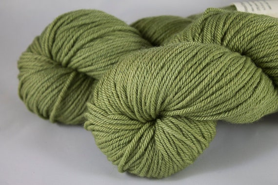 Worsted Weight, Non-Superwash, Hand Dyed in Mojito Colorway, Green Merino Worsted Yarn.