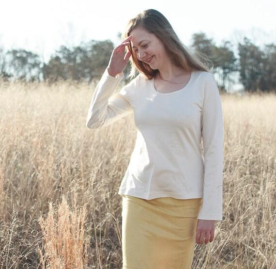 Organic Cotton Tee, Handmade Organic Cotton Jersey Shirt, Eco Friendly Women's Top
