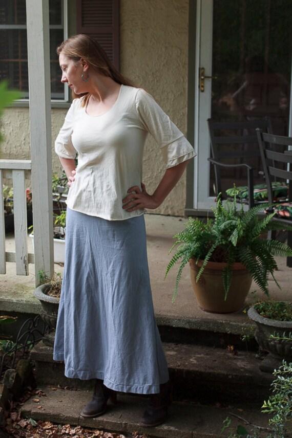 Prairie Shirt, American Grown Organic Cotton Jersey Top, Ruffle Women's Eco Friendly Shirt