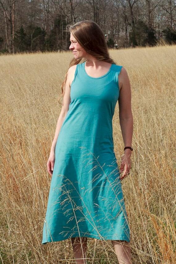 Walk in the Park Sundress, Organic Cotton Jersey A-line Dress, Eco Friendly Summer Dress