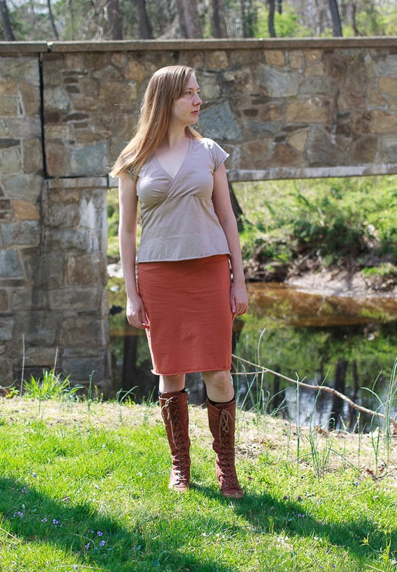 Knee Length Organic Cotton Pencil Skirt, Fair Trade Organic Cotton Jersey Skirt, Eco Friendly Straight Skirt