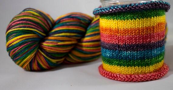 Hand Dyed Self Striping Sock Yarn /  Gemini Colorway / Zodiac Inspired Color / Superwash Merino and Nylon Fingering Yarn / Rainbow Yarn