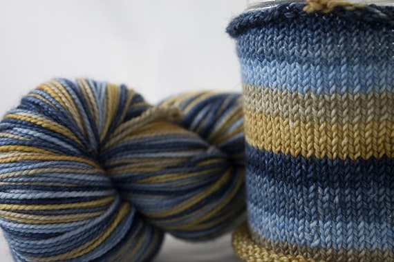 Hand Dyed Self Striping Yarn /  Cancer Colorway / Zodiac Inspired Colorway / Superwash Merino and Nylon Fingering Yarn