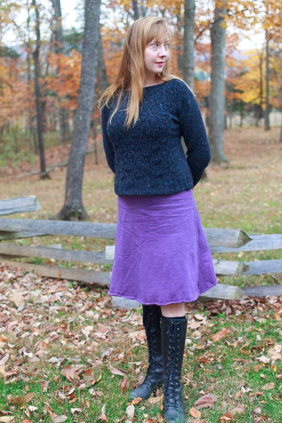 Winter Fleece A-line Skirt, Knee Length Winter Skirt, Sweatshirt Skirt, Eco Friendly Handmade Skirt