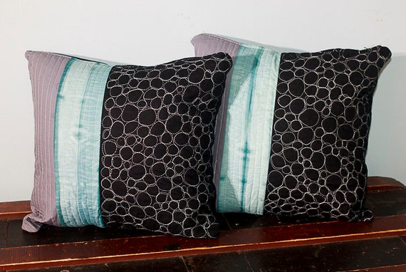 Shibori Handmade Quilted Pillow Cover, Zipped Cotton Pillow Cover, Modern Pillow Cover