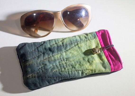 Quilted Eyeglass Case, Soft Eyeglass Case, Handmade Phone Case, Shibori Quilted Case