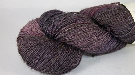 Hand Dyed Fingering Weight Yarn, Shrinking Violet Colorway, Purple Superwash Merino and Nylon Fingering Weight Yarn