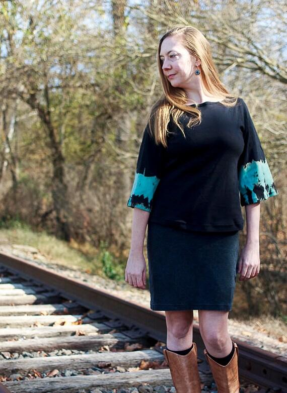 Twilight Tee, Organic Cotton Interlock Shibori Top, Bell Sleeve Eco Friendly Women's Shirt