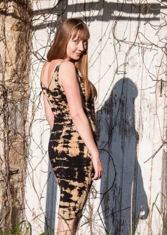 Black Shibori Slip Dress in River Pattern, X-Small and X-Large