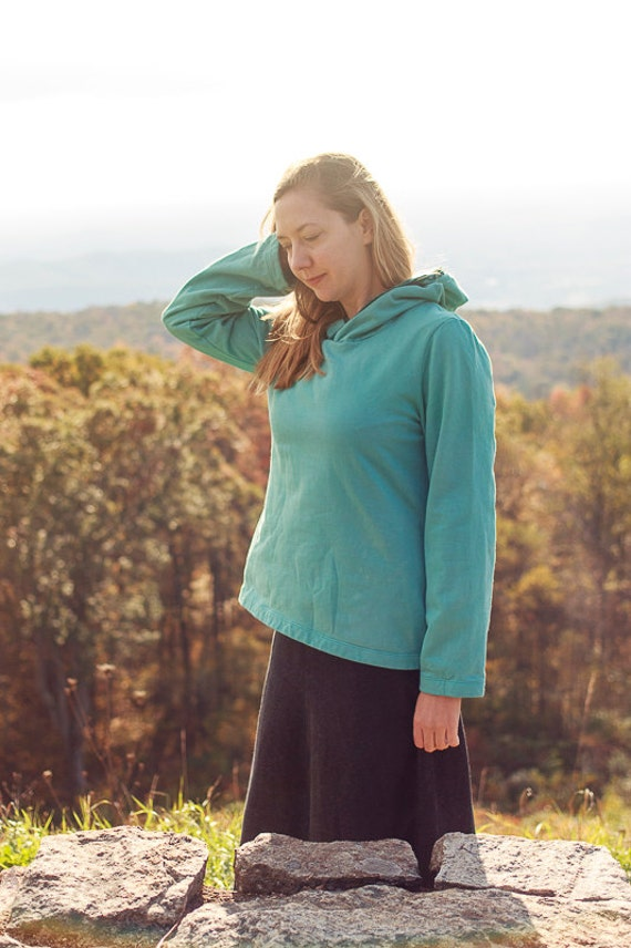Mountain Hoodie, Organic Cotton Fleece and Velvet Trim Sweatshirt