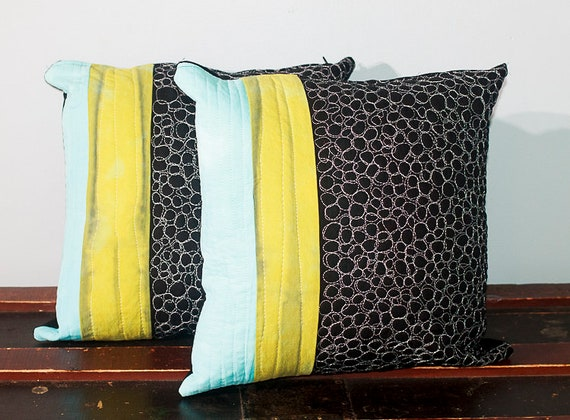 Shibori Quilted Pillow Cover, Cotton Zipped Modern Pillow Cover