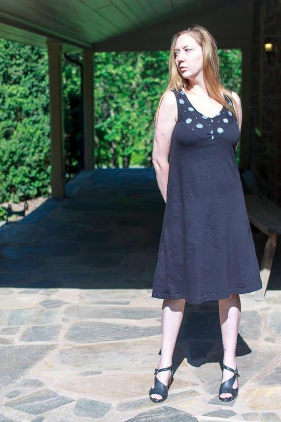 Sale, Wildflower Sundress, Black Organic Cotton Jersey Screen Printed Summer Dress