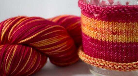 Self Striping Sock Yarn / Hand Dyed in Aries Colorway / Zodiac Inspired Color / Superwash Merino Fingering Yarn