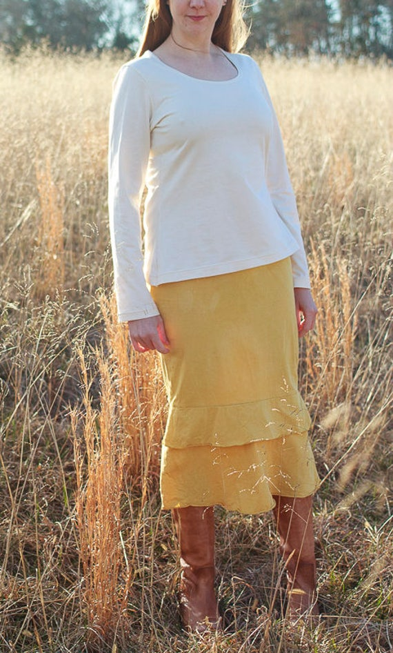 Romantic Ruffle Skirt, Organic Cotton Jersey Skirt, Handmade Eco Friendly Skirt