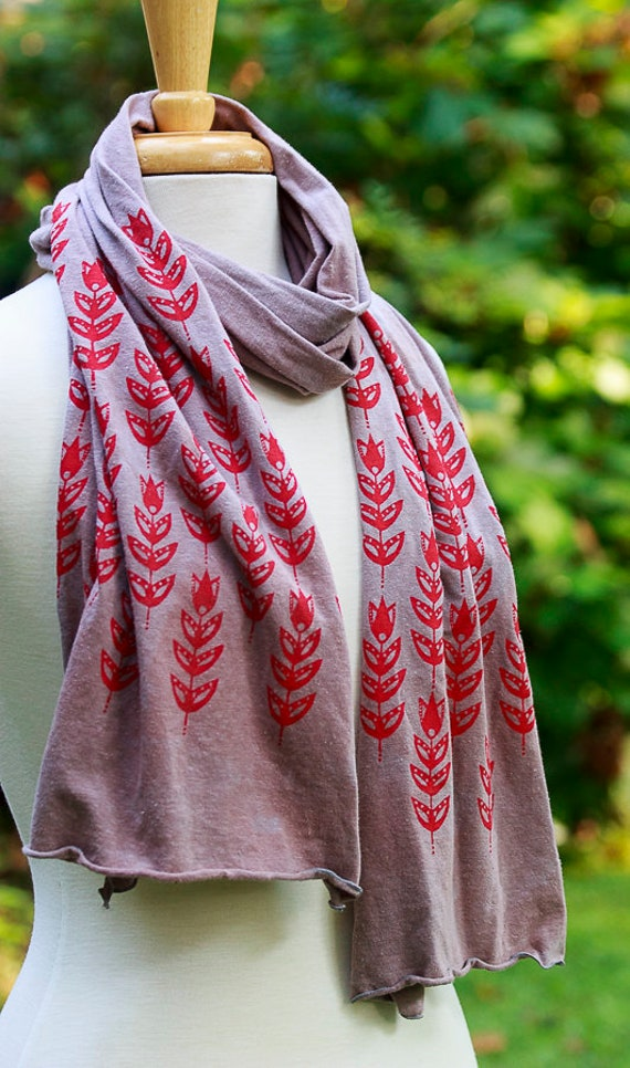 Screen Printed Scarf, Hand Dyed Hand Printed Scarves, Eco Friendly Scarves