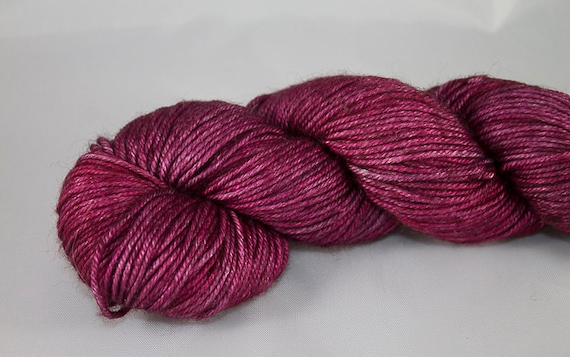 DK Silk and Wool, Hand Dyed in Vampire Kiss, Red Supewash Merino and Silk DK yarn