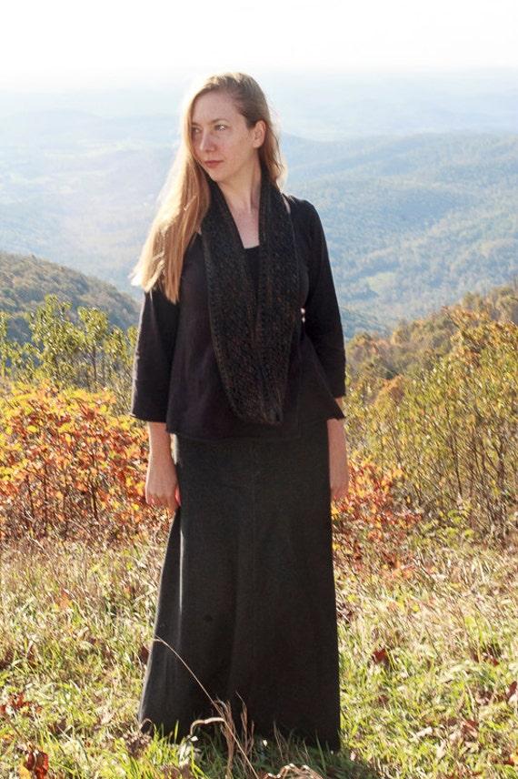 Swirl Skirt in Stretch Blackwash Denim, Long Maxi 4-Panel Skirt, Organic Denim A-Line Skirt, Hanmdade Organic Skirt