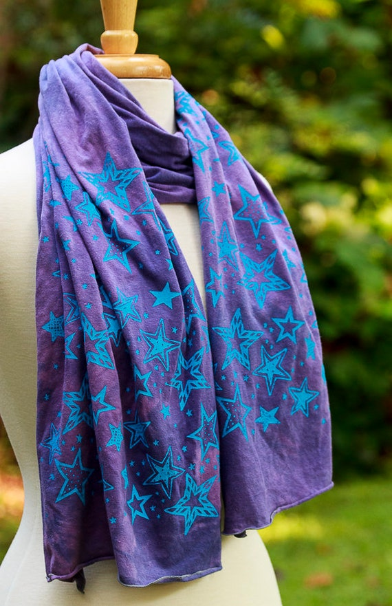 Screen Printed Stars Scarf, Hemp and Organic Cotton Jersey Scarf, Eco Friendly Scarves