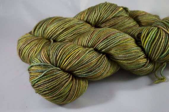 Hand Dyed Merino DK Yarn, Finch Colorway, Gold-Green Yarn, Kettle Dyed Superwash Merino Yarn