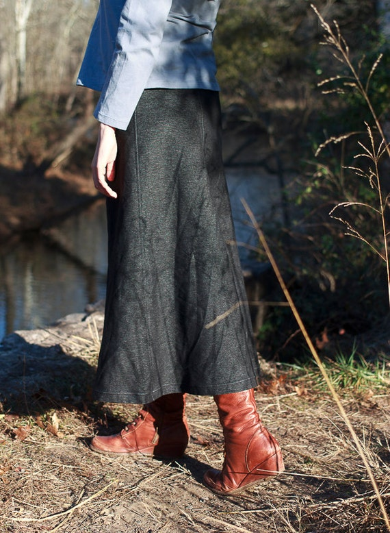 Annie Skirt in Stretch Organic Cotton Blackwash Denim, Long A-Line Denim Skirt, Handmade Eco Friendly Skirt, 6-panel Skirt