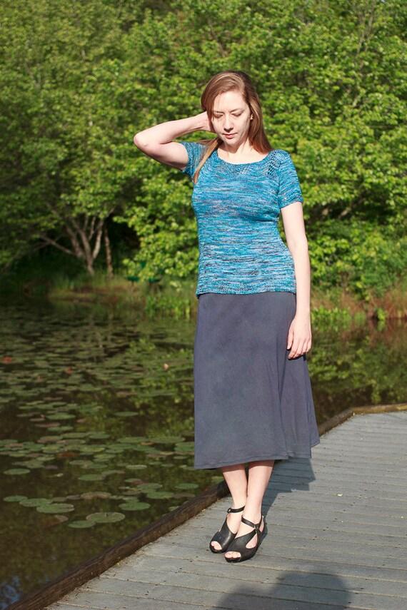Go Anywhere Skirt in  Organic Cotton Jersey, Long A-line Skirt, Handmade Eco Friendly Skirt