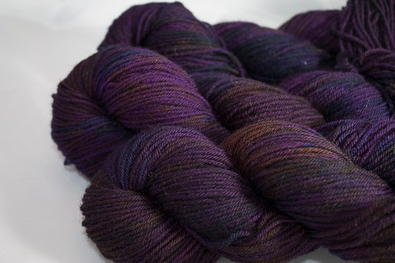 Hand Dyed Blue Faced Leicester DK, Galaxy Colorway, Multi-Colored Purple Superwash BFL DK Yarn.