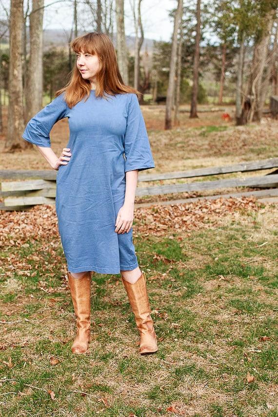 Clara Dress , Organic Cotton Jersey Bell Sleeve Dress