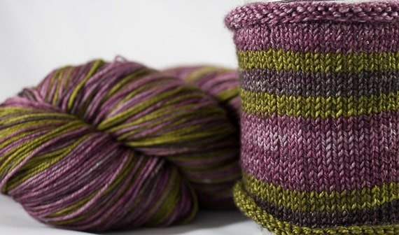 Hand Dyed Self Striping Yarn, BFL Sock Yarn, Self Striping Sock Yarn. Superwash Bluefaced Leicester and Nylon