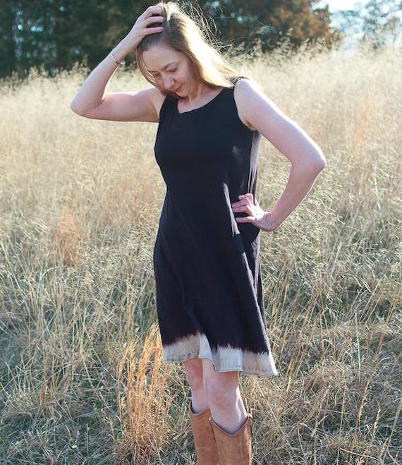 Jane Sundress, American Grown Black Organic Cotton Dress, Ruffle Eco Friendly Summer Dress